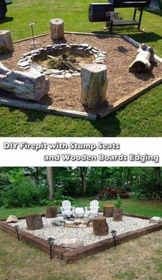 DIY Fire Pit with Stump Seats and Wooden Boards Edging. #outdoorfireplacesgrill