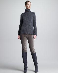 Mathias Matte Velvet Pants, Silver by Loro Piana at Bergdorf Goodman.