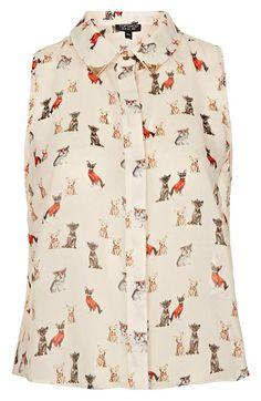 Topshop Dog Print Sleeveless Crop Shirt