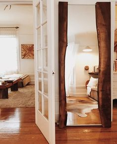 Live edge wood mirror barn door | Master bath | Pinterest