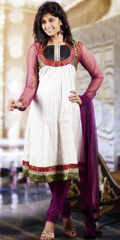 $58.38 White Cotton Embroidery Anarkali Style Salwar Kameez 25117