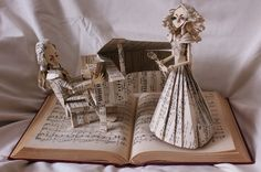 """The Opera Singer"" book sculpture (artist: Jodi Harvey-Brown)"