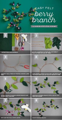 Diy christmas crafts 534661787017674330 - Make your own felt berry branches with our straightforward set of instructions and photo tutorial. The felt forest fun never ends! Paper Flowers Diy, Handmade Flowers, Felt Flowers, Flower Crafts, Fabric Flowers, Felt Flower Bouquet, Paper Flower Ball, Felt Diy, Felt Crafts
