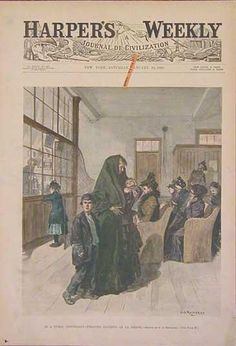 """1892 Harper's Weekly hand colored wood engraving titled, """"In A Public Dispensary -- Treating Patients of La Grippe."""" Drawn by C.S. Reinhart."""