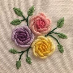 Hand Embroidery Patterns Flowers, Hand Embroidery Videos, Embroidery Stitches Tutorial, Embroidery Flowers Pattern, Embroidery Motifs, Hand Embroidery Designs, Beaded Embroidery, Etsy Embroidery, Beginner Embroidery