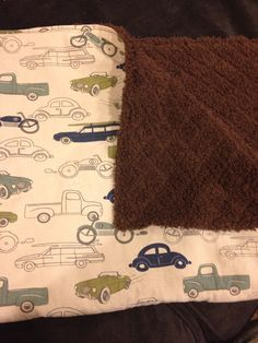 Vintage Car Stroller Blanket with Brown Cuddle Minky on Etsy, $24.95