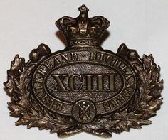 93rd HLDRS (A & S.H.) BRONZE OFFICERS W. B. P. CAP BADGE