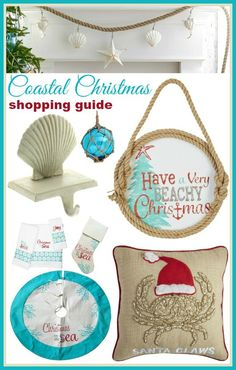 Coastal beach Christmas shopping guide on Completely Coastal: http://www.completely-coastal.com/2015/11/sea-inspired-coastal-christmas-collections.html Everything you could wish for! Stockings, Signs, Pillows, Tree Skirts, Ornaments and more.