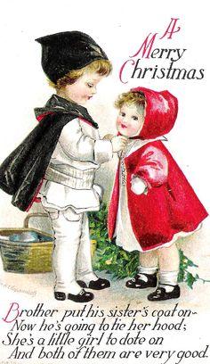 Ellen Clapsaddle - American - vintage Christmas postcard.