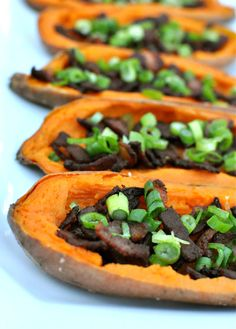 Loaded Sweet Potato Skins -- just 5 ingredients and perfect for tailgating! Use nitrate-free turkey bacon and sea salt, and leave out the optional dollop of yogurt on top.
