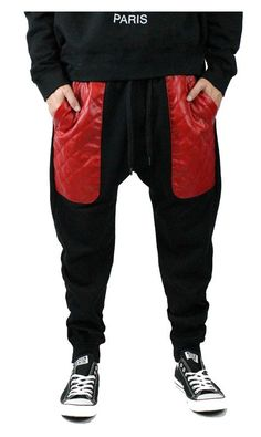 Quilted PU Leather Pocket Joggers large from wholesalela@yahoo.