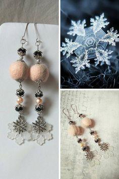 Statement long pearl snowflake earring Victorian winter black