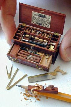 William Robertson created miniature tool chest (1/12 scale, 2 inches long). All tools are fully functional, with blades made of steel. Chest and tools took 1,000 hours to complete. (!!!)