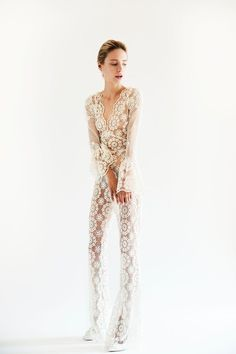 Lesley de Freitas crochet wedding jumpsuit. Click on the image to see our gallery of unusual wedding dresses.