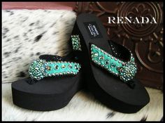 c3d03a0f97c9 turquoise Renada Cowgirl Flip Flops-funky cowgirl jewelry