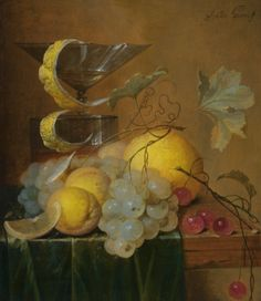 Jan Davidsz. De Heem (Utrecht 1606 - 1683/4 Antwerp), Still life with a wine glass, lemon peel, peaches, grapes and cherries on the corner of a partly draped wooden table. Photo Sotheby's