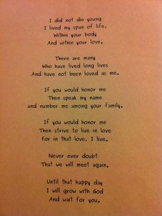 Poem from an angel.  This may be for a child younger than Sean, but it still seems appropriate.