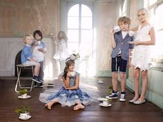Katrina Tang Photography for Mon Petit SS 14. Kids wearing fancy party clothes having tea party, plants in teacups, old manor house #katrinatang #tangkatrina