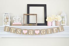 Its a Girl Banner, Baby Shower Decorations, Its A Girl Sign, Baby Shower, Pink…