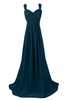 Sunvary 2015 Straps Chiffon Bridesmaid Party Dresses Prom Gowns for Evening Mother of the Bride Dress Long US Size 2- Dark Teal