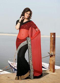 Light Pink & Black Georgette Saree Visit:http://www.indiansareestore.in/sarees/casual-sarees