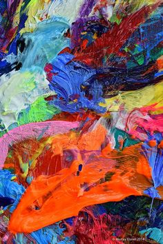 UNTITLED-287 with Blue & Orange // Large Abstract by EisnerArt
