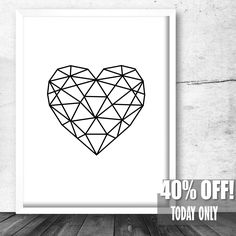 Instant Download, Geometric Heart, Modern Decor, Heart Print, Modern Large Print,Geometric Poster Art,Modern Home Decor,Geometric Art Poster by BestPrintableArt on Etsy