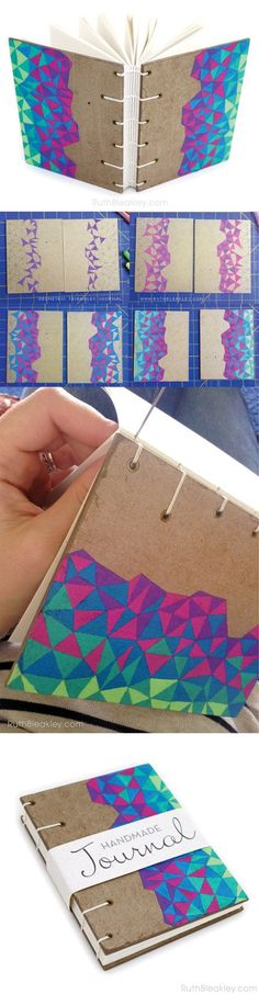 Coptic Stitch Journal with hand-drawn geometric triangles by Ruth Bleakley on Etsy - Diy Home Crafts Fun Crafts, Diy And Crafts, Arts And Crafts, Paper Crafts, Origami, Diy Notebook, Small Notebook, Handmade Notebook, Decorate Notebook