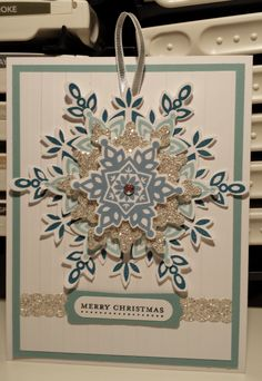 SU Festive Flurry Christmas Card Stampin Up by Gloria Kremer could add Velcro to back of snowflake so the receiver could take off and use as an ornament Stamped Christmas Cards, Christmas Paper Crafts, Homemade Christmas Cards, Stampin Up Christmas, Christmas Cards To Make, Xmas Cards, Homemade Cards, Holiday Cards, Scrapbook Cards