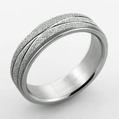 Style Sanctuary  - Stainless Steel Wedding Ring with Sandblasted Diamond Cuts…