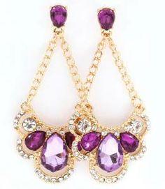 Radiant Orchid Teardrop Crystal Drop Dangle Chandelier Earrrings Buy It Now $17.99