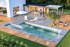 Stunning Swimming Pool Backyard Ideas to Copy - SeemHome Swim Spa, Pool House, Simple Pool, Swimming Pool Designs, Outdoor Design, Building A Swimming Pool, Front Garden Design