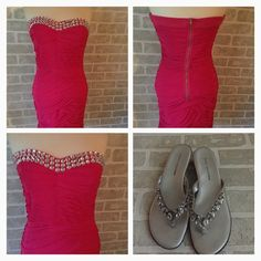 """SALE  HP Strapless Glamorous Fitted Dress Brand New with Tags! Tag says size Large but please refer to measurements. I had my sister model this. She is a 4/6 and 5'9"""" so it's short on her. Date Night Host Pick 6/14/14! Firm Laying flat measurements are:  Pit to pit- 16.5 Waist- 14 Length-27.5 Trendology Dresses Prom"""