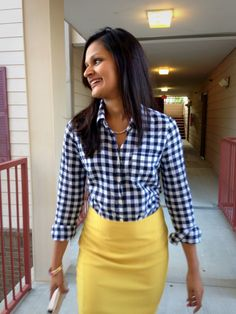 gingham shirt + pencil skirt! I love mixing the bold colors and the blue would look great with your purple skirt!