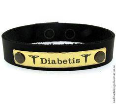 Браслет для людей, страдающих сахарным диабетом. Гравировка на заказ -
