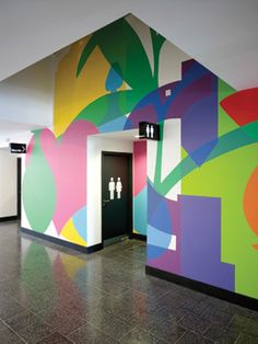 Wall graphics at Kentish Town Health Centre, UK by Architect AHMM (Allford Hall Monaghan Morris) Web Banner Design, Wall Design, Design Design, Book Design, Layout Design, Cover Design, Environmental Graphic Design, Environmental Graphics, Office Graphics