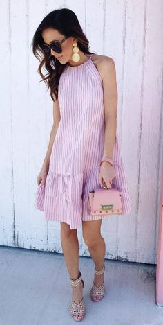 summer outfit idea : pink striped dress bag heels