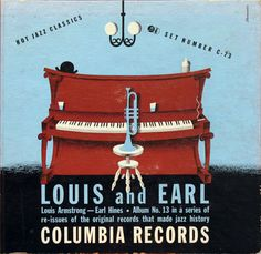 """Louis armstrong, earl hines, alex steinweiss, jazz album cover,"