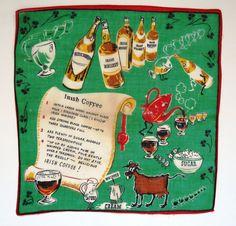 Vintage Irish Coffee Handkerchief - Fun Graphics Elsie the Cow - Irish Coffee Recipe - Irish Whiskey Bottles - St Patricks Day - Gift Idea