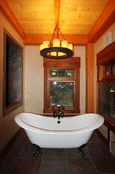Exquisitely detailed bathroom in the woods.