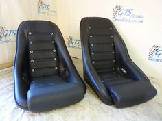 our 'Nurburgring' and 'Sebring' seats with grommets for a classic Datsun.Classic Car Seats by GTS Classics.
