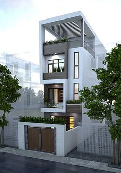 9 pretty small exterior house design architecture ideas 8 « A Virtual Zone Narrow House Designs, Narrow House Plans, Modern House Plans, House Front Design, Small House Design, Modern House Design, 2 Storey House Design, Minimalist House Design, Street House