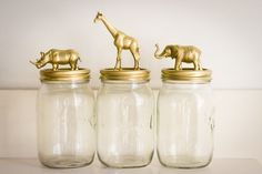 DIY: gold animal mason jars