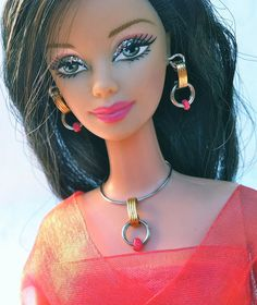 Doll Jewelry – gold and silver tone with fuchsia beads necklace and earrings