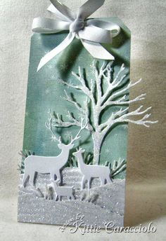 12 Tags of Christmas with a Feminine Twist 2012 – Day 5 by Kittie Caracciolo – Origami 3d Christmas, Christmas Gift Tags, Xmas Cards, Handmade Christmas, Holiday Cards, Beautiful Christmas, Holiday Gifts, Christmas Wreaths, Memory Box Cards