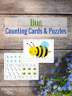 Learn to count with these bug counting cards and puzzles. Keep learning numbers fun.