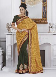 Entrancing Jacquard Green Designer Saree