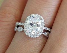 1.5 Carat Oval Halo Engagement Ring Vintage D by TigerGemstones