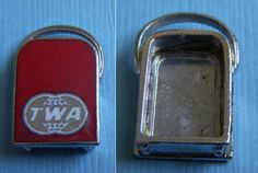 Vintage enamel TWA suitcase airline no back sterling charm