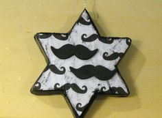 Cute hipster ornament! Black and White Mustache Decoupage Painted Paper Mache and Foam Star Ornament by VioletVox, $6.00